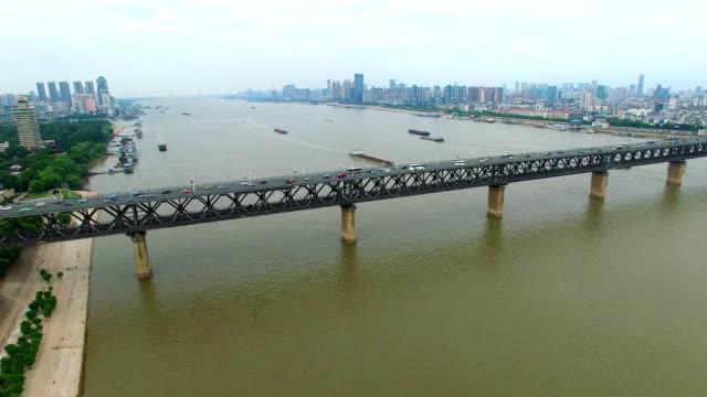 yangtze river bridge in wuhan hubei china - stainless steel stock videos & royalty-free footage