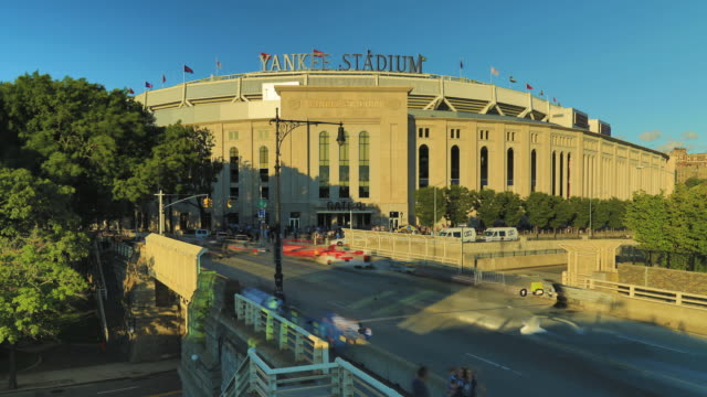 Yankee Stadium from south - Time-lapse day to night.