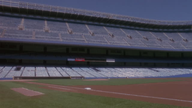 yankee stadium stands empty. - baseball diamond stock videos and b-roll footage