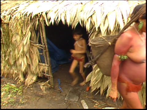 yanomami indian women leave a traditional maloca dwelling in the amazon - yanomami stock videos and b-roll footage