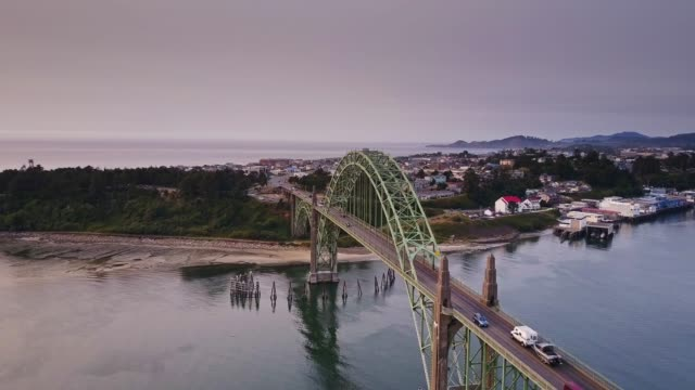 yaquina bay bridge and newport, oregon - aerial view - 1936 stock videos & royalty-free footage