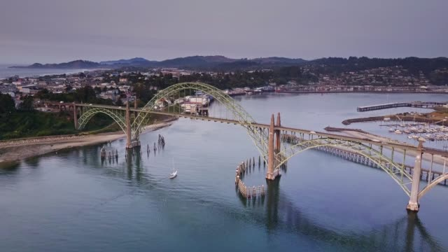 yaquina bay, oregon coast - aerial view - oregon coast stock videos & royalty-free footage