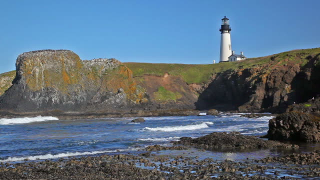 ws yaquina head lighthouse / newport, oregon, usa - newport oregon stock videos & royalty-free footage