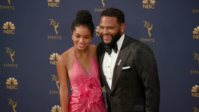 yara shahidi and anthony anderson at the 70th emmy awards - arrivals at microsoft theater on september 17, 2018 in los angeles, california. - anthony anderson stock videos & royalty-free footage