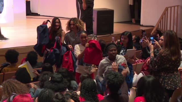 Yara Shahidi and audience at Glamour's 'The Girl Project' Hosts Rally On International Day Of The Girl at Merkin Concert Hall on October 11 2017 in...