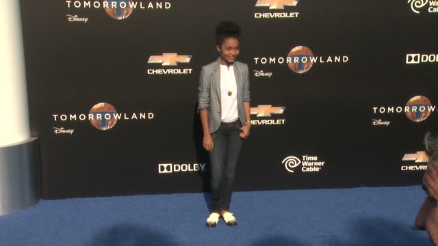 yara shahidi at the tomorrowland los angeles premiere at amc downtown disney 12 theater on may 09 2015 in anaheim california - anaheim california stock videos and b-roll footage