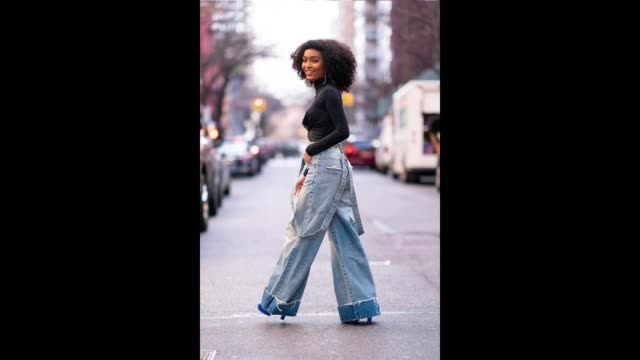 Yara Shahidi is seen wearing a Nanuska top TRE jeans with Casadei shoes in Gramercy on January 02 2019 in New York City