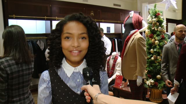 interview yara shahidi on st jude's the brooks brothers event and favorite holiday memory at brooks brothers celebrates the holidays with st jude... - st. jude children's research hospital stock videos and b-roll footage