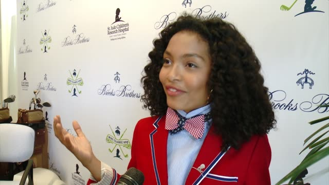 interview yara shahidi on why she wanted to support brooks brothers st judes at brooks brothers hosts mini classic golf tournament to benefit st jude... - st. jude children's research hospital stock videos and b-roll footage