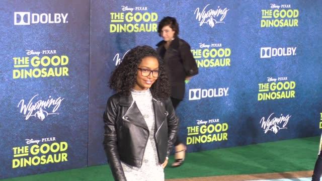 Yara Shahidi Sayeed Shahidi at The Good Dinosaur Premiere at El Capitan Theatre in Hollywood in Celebrity Sightings in Los Angeles