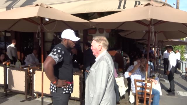 Yasiel Puig Vin Scully in Beverly Hills in Celebrity Sightings in Los Angeles