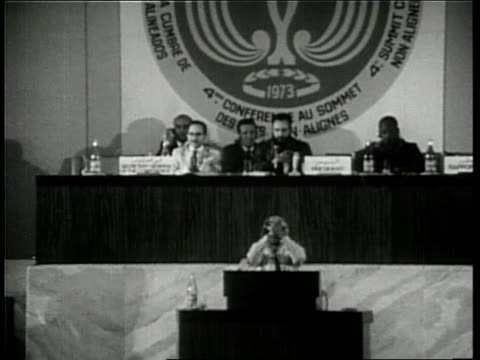 Yasser Arafat delivers a speech at the Fourth Summit Conference of NonAligned Nations in 1973