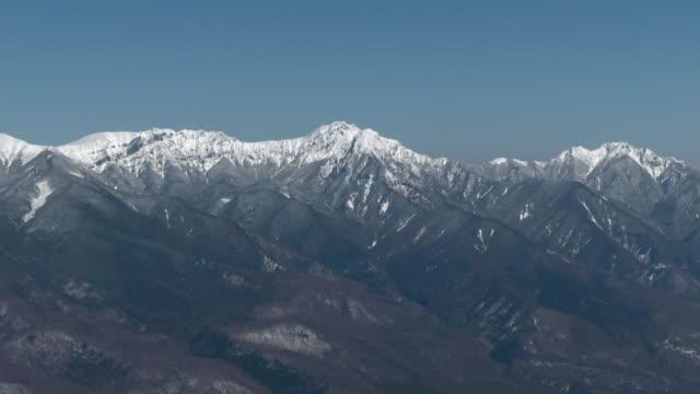 aerial, yatsugatake mountains, nagano and yamanashi, japan - march month stock videos & royalty-free footage