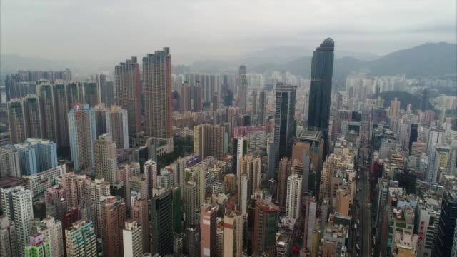 stockvideo's en b-roll-footage met yau ma tei as seen from an aerial perspective, mong kok, hong kong - verwonderingsdrang