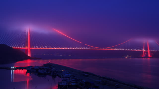 4k: yavuz sultan selim bridge **time lapse** - bosphorus stock videos & royalty-free footage