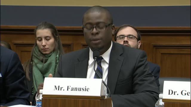 yaya fanusie, director of analysis with the foundation for defense of democracies, tells a house financial services task force on terrorist financing... - financial analyst stock videos & royalty-free footage