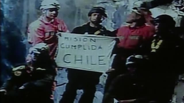 a year ago on thursday the miraculous rebirth of 33 chilean miners held the world transfixed in a 22hour dramatic rescue with the men hauled one by... - minatore video stock e b–roll
