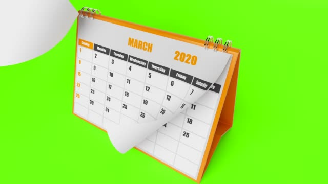 2020 year calendar on green background - august stock videos & royalty-free footage
