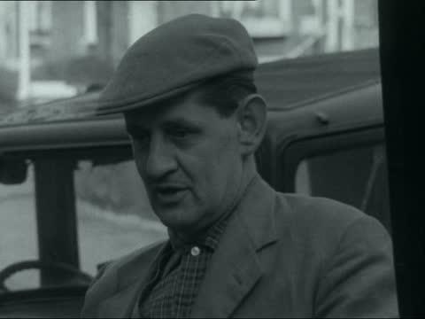 stockvideo's en b-roll-footage met year car tests; england: ext 'mr garten' interview sof car owners interview sof 16mm neg itn 2.22mins tx 5.1.61/6:05pm 22386 - itv evening bulletin