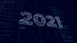 2021 year new futuristic digital sketch
