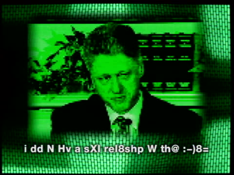 "computer language; graphic us president bill clinton with statement about monica lewinsky written in text message form ""i dd n hv a sxi rel8shp w th@... - pope john paul ii stock videos & royalty-free footage"