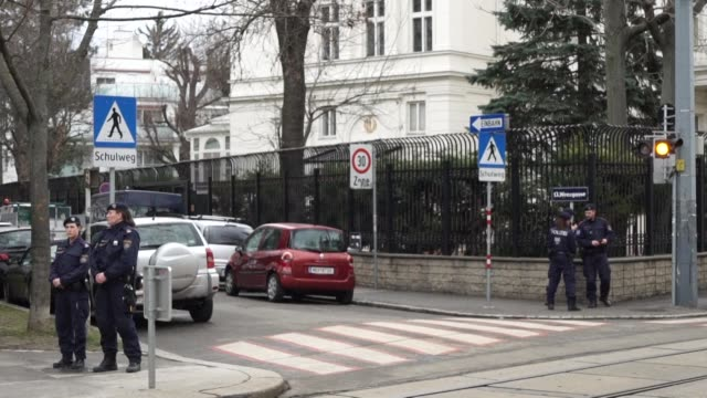 year old austrian is shot dead outside the iranian ambassador's residence in vienna after he attacked a guard with a knife police say - austrian culture stock videos & royalty-free footage