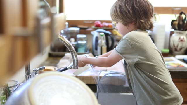 4 year old boy doing dishes - diska bildbanksvideor och videomaterial från bakom kulisserna