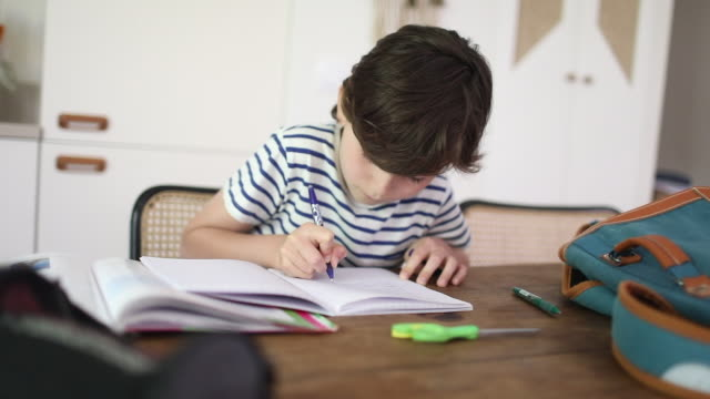 vidéos et rushes de a 10 year old boy doing homework at home - expression positive