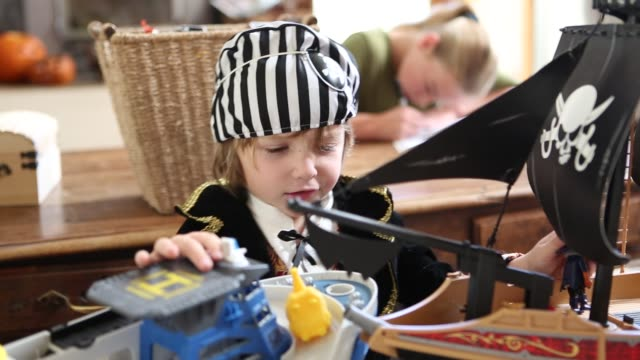 4 year old boy dressed as a pirate at home - dressing up stock videos & royalty-free footage