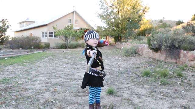 4 year old boy dressed as a pirate - fancy dress costume stock videos and b-roll footage