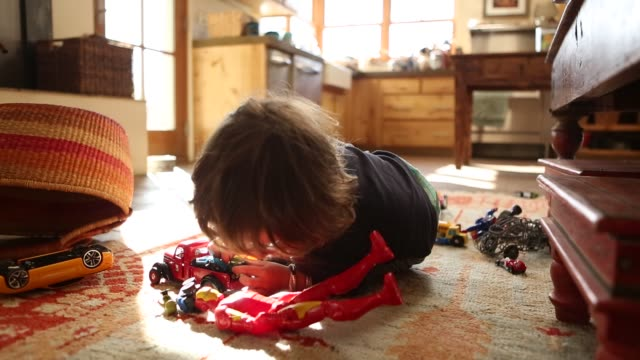 2 year old boy playing