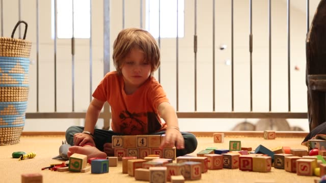 4 year old boy playing with wooden blocks - カーペット点の映像素材/bロール