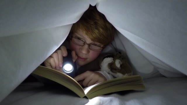 10 year old boy reading under bed clothes - bedtime stock videos & royalty-free footage