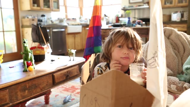 4 year old boy sitting in cardboard ship on couch - hand am kinn stock-videos und b-roll-filmmaterial