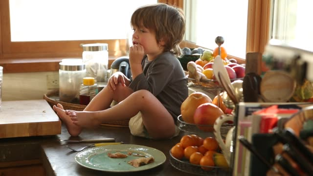 2 year old boy sitting on counter top - arbeitsplatte stock-videos und b-roll-filmmaterial