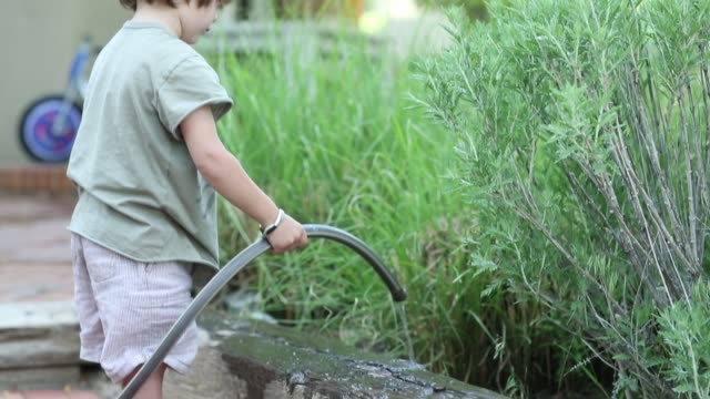 3 year old boy using garden hose