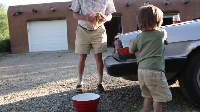 2 year old boy washing a car with his grandfather - grandparent stock videos & royalty-free footage