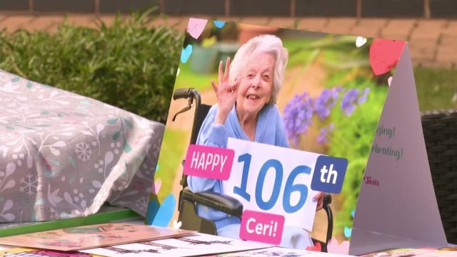 year old ceridwen herring receives birthday wishes and a seventh royal telegram; england: staffordshire: rugeley: horse fair care home: ext care... - birthday stock videos & royalty-free footage