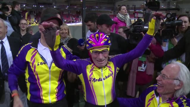 year old french cyclist sets a new one hour record for his age although robert marchand was already in a class all of his own - new age stock videos & royalty-free footage