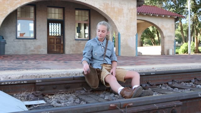 11 year old girl on railroad tracks - lamy new mexico stock videos and b-roll footage