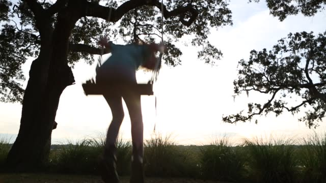 vidéos et rushes de 8 year old girl swinging on a swing in the marsh low country - balançoire