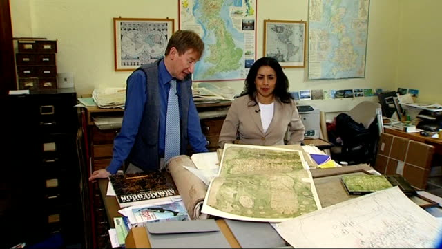700 year old map of britain found nick millea interview sot saying map maker didn't know about north of border - bodleian library stock videos and b-roll footage