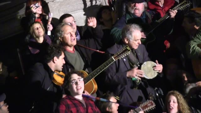 year old pete seeger marched down broadway to occupy columbus circle in solidarity for the 99% occupy wall street / guy davis on the harmonica /... - occupy protests stock videos & royalty-free footage