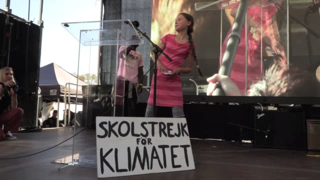 16 year old swedish teen greta thunberg in new york to address the united nations speaks to 250000 during global climate strike student walkout to... - streik stock-videos und b-roll-filmmaterial