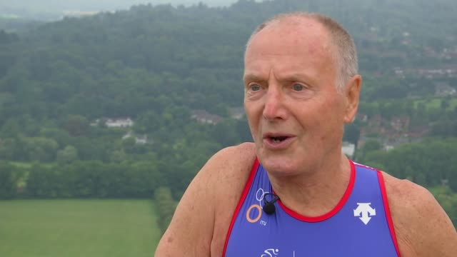 81 year old training to compete in triathalon world championships england surrey box hill ext jim mckellar interview sot - サリー州 ボックスヒル点の映像素材/bロール