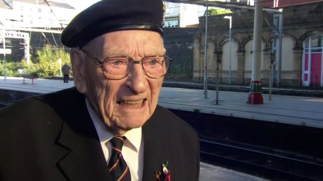 101 year old veteran given guard of honour on his way to london for armistice day england lancashire preston ext various ernie horsfall on platform... - armistice stock videos & royalty-free footage