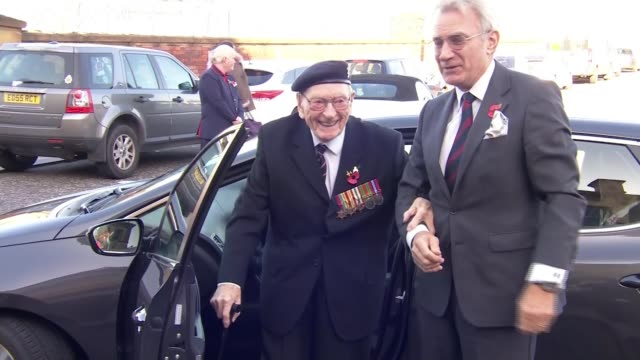 101 year old veteran given guard of honour on his way to london for armistice day england lancashire preston ext ernie horsfall from car as arriving... - saluting stock videos & royalty-free footage