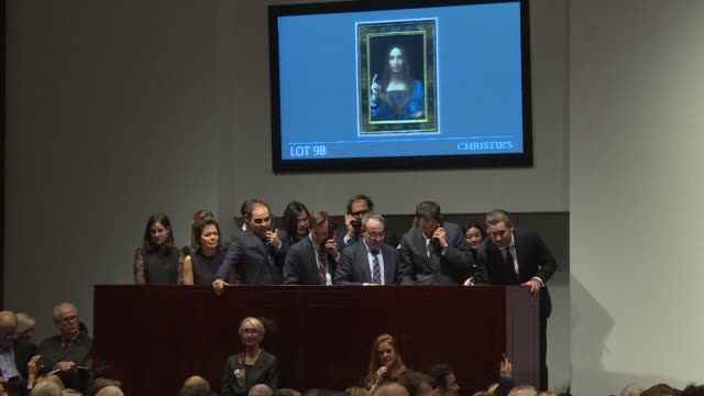 a 500 year old work of art depicting jesus christ believed to be the work of renaissance master leonardo da vinci sells in new york for $4503 million... - auction stock videos & royalty-free footage