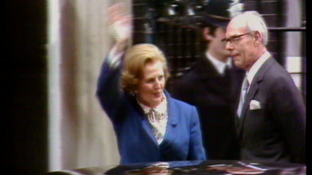 year rule documents reveal thatcher government response to riots of 1981; london: downing street: thatcher and husband denis outside number 10 - government stock videos & royalty-free footage