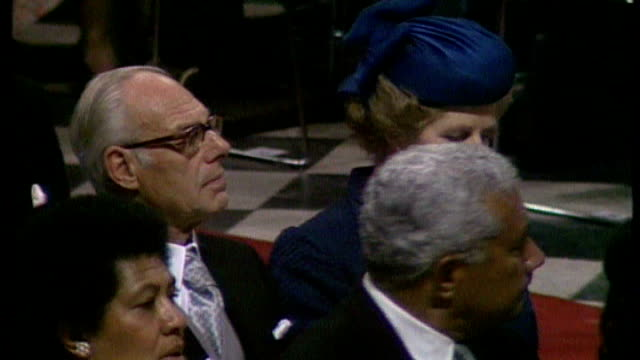 stockvideo's en b-roll-footage met 30 year rule documents reveal thatcher government response to riots of 1981 tx int margaret thatcher and husband denis attending the wedding of... - attending